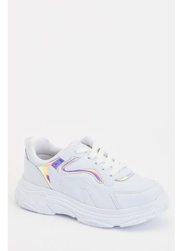 Defacto –Fit Kız Çocuk Bağcıklı Sneaker Ayakkabı Beyaz